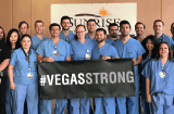 Hospital staff with Vegas Strong banner
