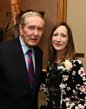 Dr. Frist, Jr., with Donna Harrell, this year's recipient of the HCA Innovators award in the quality and patient safety category.