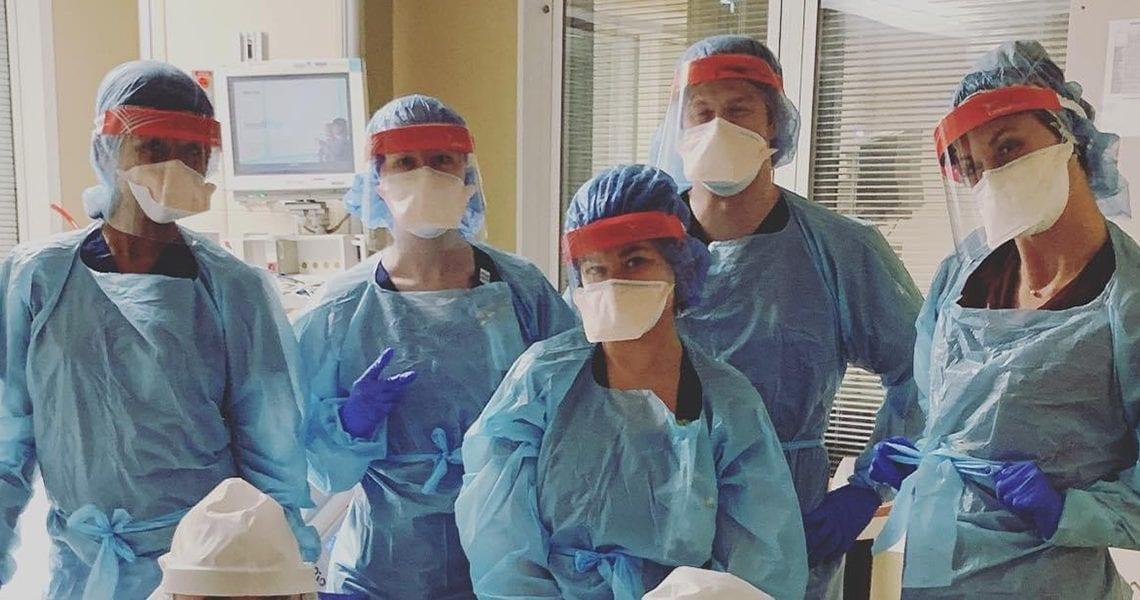 Employees at TriStar Centennial Medical Center: Dr. Joyce Williams, ICC Intensivist; Tessa Starkey, RN; Rachel Oddo, BSN, RN; Kevin Homen, RN; Kimberly Harvey, BSN, RN, CCRN